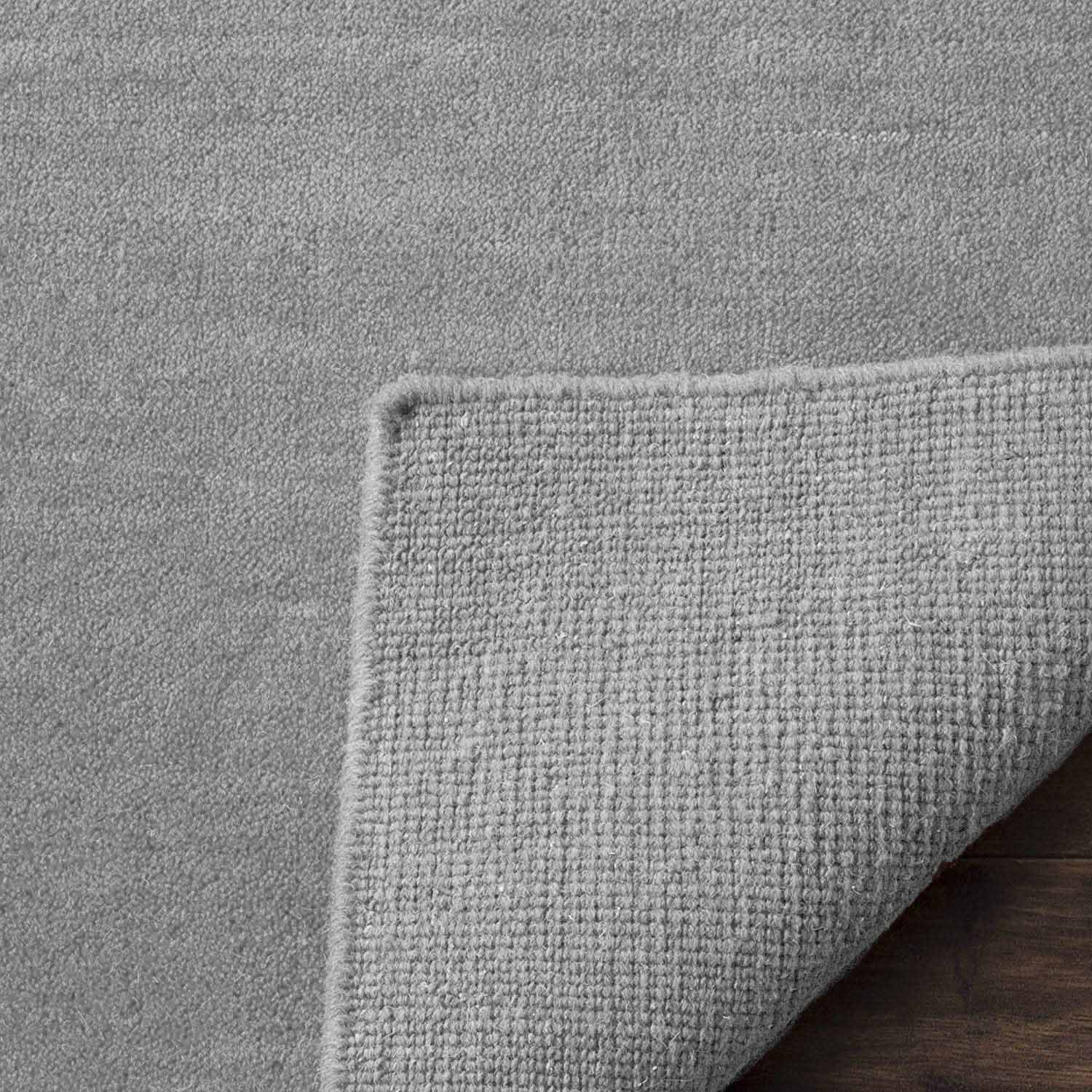 Silver Solid 100% Wool Soft Modern Area Rug