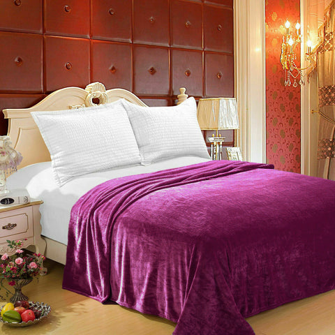 Purple 100% Polyester Solid Color Flannel Luxury Soft Micro-Fleece Ultra Plush Solid Throw Blanket Bedding