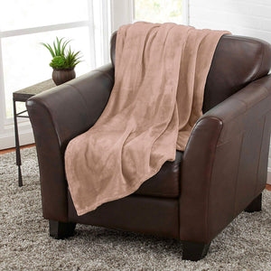 Taupe 100% Polyester Solid Color Flannel Luxury Soft Micro-Fleece Ultra Plush Solid Throw Blanket Bedding