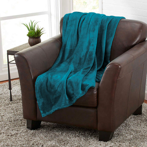 Turquoise 100% Polyester Solid Color Flannel Luxury Soft Micro-Fleece Ultra Plush Solid Throw Blanket Bedding