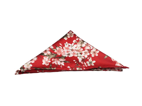 red pocket square with white flower
