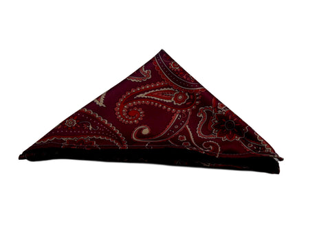 Dekabes31 red burgundy paisley pocketsquare hankerchief from Montreal canada by Dekabes31.com