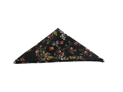 Black floral pocketsquare