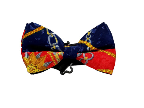 blue and red with gold chain design bow tie