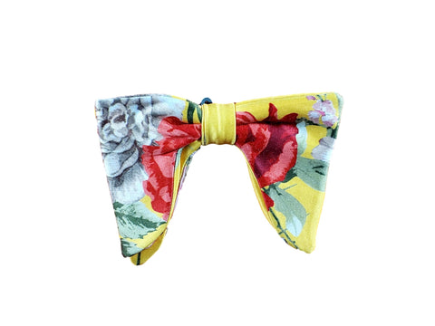 Yellow floral butterfly bow tie