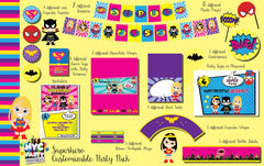 Girl Superhero heroine Party Pack Collection with Photo Booth Props