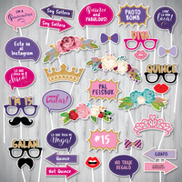Quinceañera Photo Booth Props with Photo Booth Sign, Quinceanera Photo Booth Props, Quince Props, XV años party photo props, 15th Birthday Props-INSTANT DOWNLOAD - NYC PARTY PRINTABLES