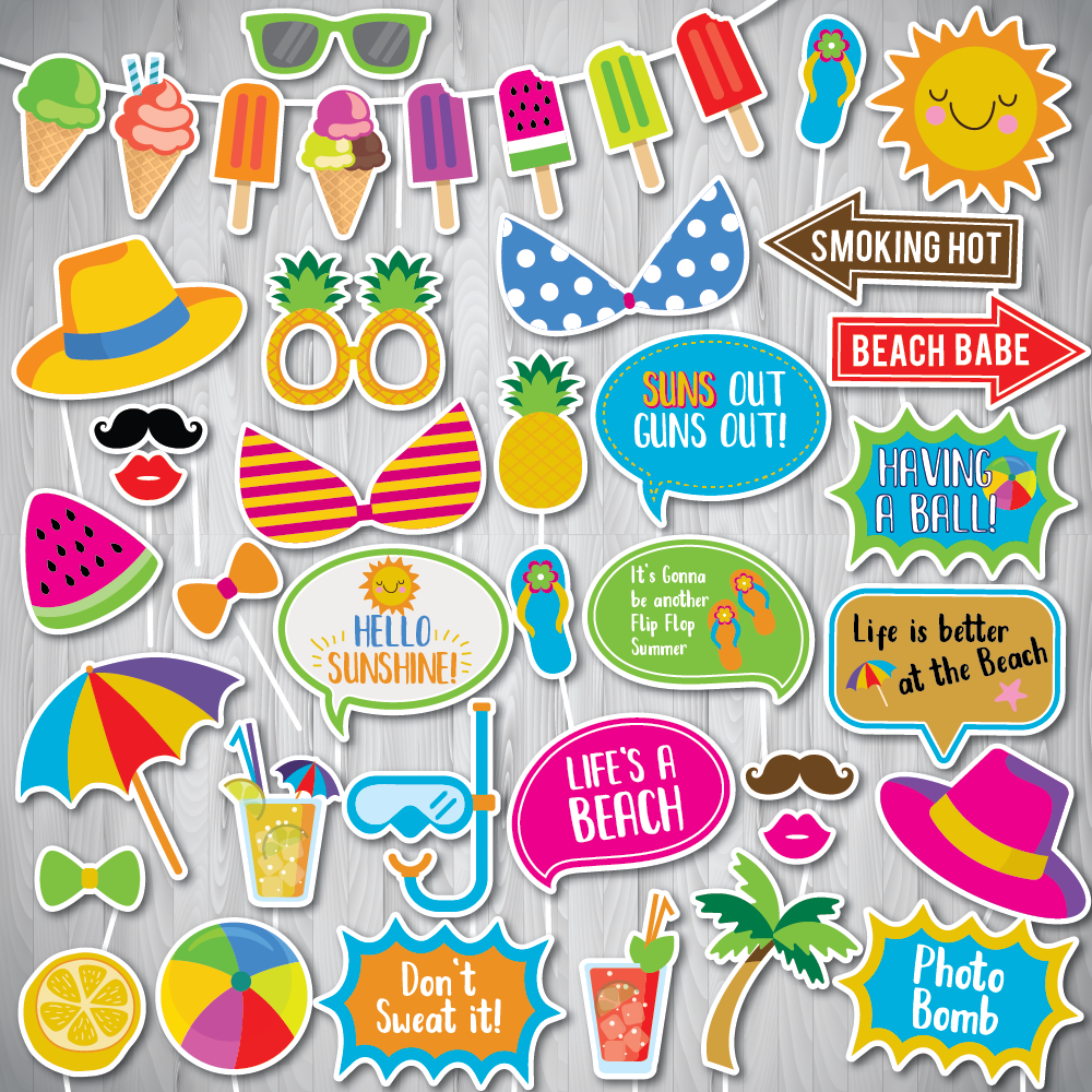 Summer Party Photo Booth Props + FREE Sign, Summer PhotoBooth Props, Beach Party Photo Booth Props, Beach Vacation Party, INSTANT DOWNLOAD