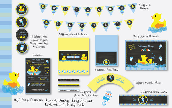 Rubber Ducky Baby Shower Printable Party Decoration Pack - NYC PARTY PRINTABLES
