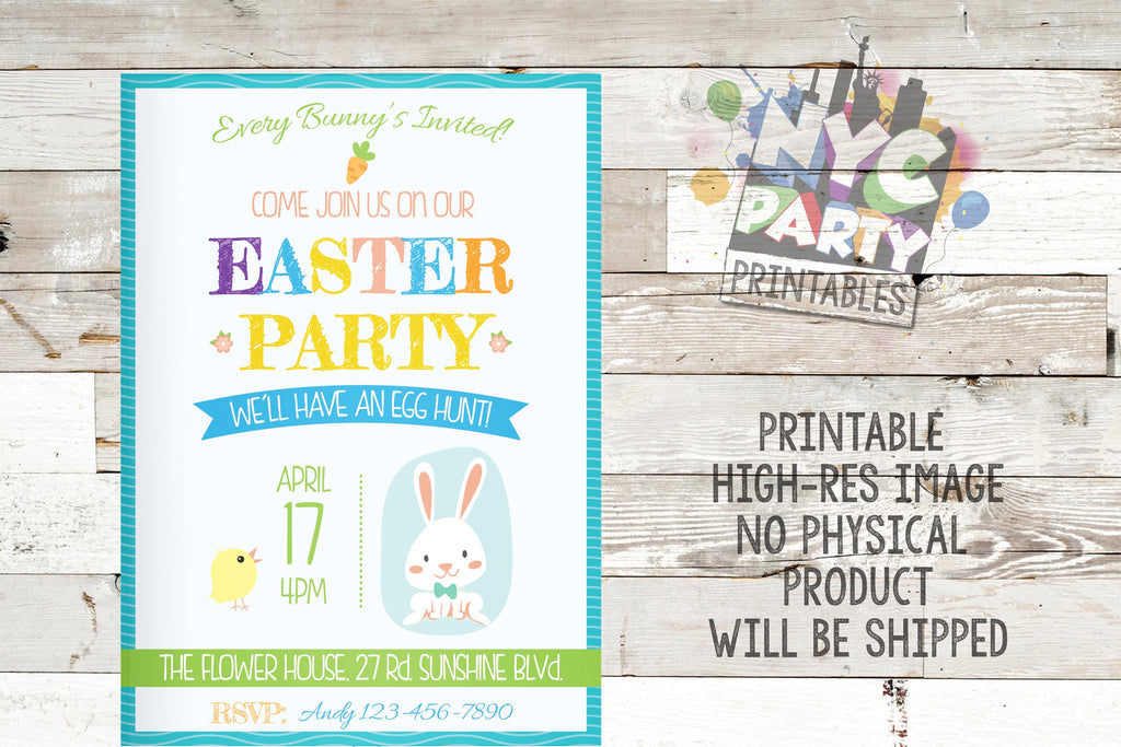 Easter Party Easter Egg Hunt Easter Brunch Invitation Invite Personalized Customized DIY Party Printable