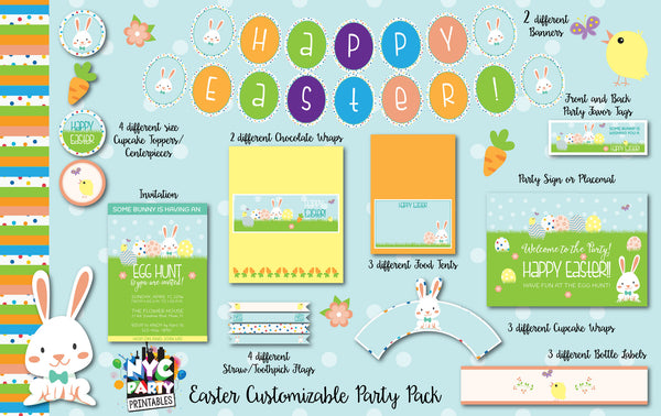 12 piece easter party egg hunt personalized pack printable with