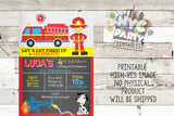 Firefighter Fireman Fire truck birthday Invitation