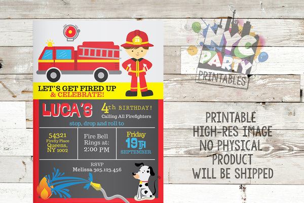 Firefighter Fireman Fire truck birthday Invitation - NYC PARTY PRINTABLES