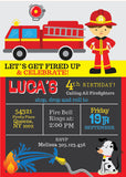 Firefighter Chalkboard Invitation - NYC PARTY PRINTABLES