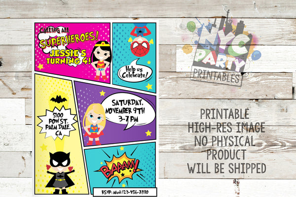 ALL GIRL Superhero Birthday Party Invitation Batgirl Wonder Woman SuperGirl SpiderGirl - NYC PARTY PRINTABLES