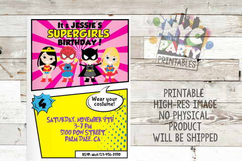 Superhero All girl Birthday Party Invitation Invite Batgirl Supergirl Wonder woman