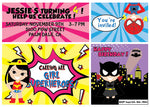 ALL Girl Superhero Birthday Party Invite Invitation Batgirl, Supergirl, Spidergirl, wonder woman - NYC PARTY PRINTABLES