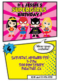 Superhero All girl Birthday Party Invitation Invite Batgirl Supergirl Wonder woman - NYC PARTY PRINTABLES