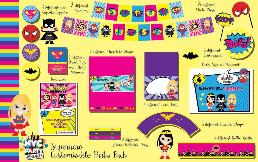 ALL Girl Superhero Heroine Birthday Party 12 piece party Pack with Photo Props Printables - NYC PARTY PRINTABLES