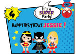 Superhero Heroine All Girl Birthday Party 12 piece party Pack - NYC PARTY PRINTABLES