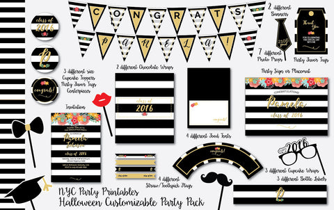 Graduation Party Printable Decoration Pack with Invitation and Bonus Photo Booth Props - NYC PARTY PRINTABLES