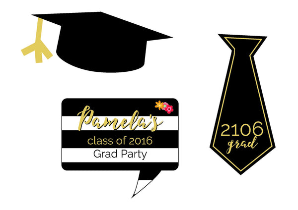photograph about Graduation Photo Booth Props Printable titled Commencement Celebration Printable Decoration Pack with Invitation