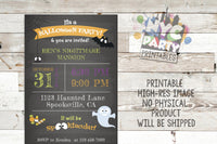 Spooky Halloween Chalkboard Invitation