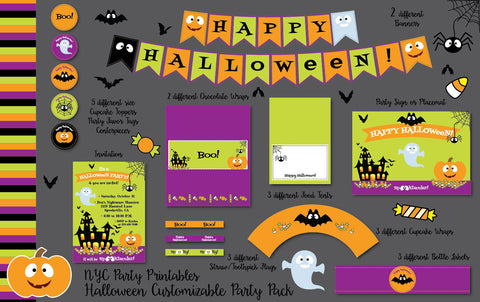 Spooky Halloween Customizable Party Printable Pack - NYC PARTY PRINTABLES