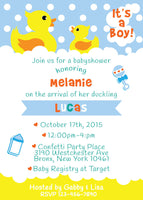 Darling Ducky Vertical Baby Shower Invite – Printable – JPG – 5x7 inch – Rubber Duck – Baby Sprinkle - NYC PARTY PRINTABLES