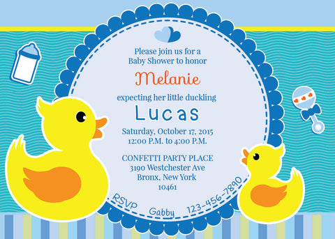 Rubber Ducky Baby Shower Invitation - NYC PARTY PRINTABLES