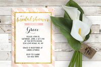 Bridal Shower Party Champagne and Blush Invitation