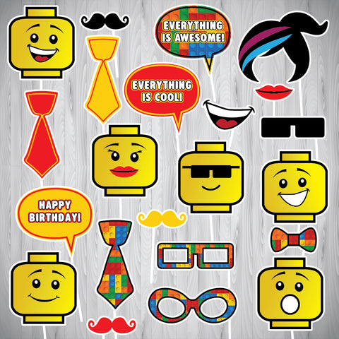 Lego Photo Booth Props - Instant Download
