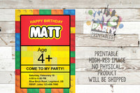 Lego Birthday Party Invite Invitation Duplo Legoland Legos