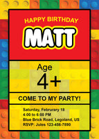 Lego Birthday Party Invite Invitation Duplo Legoland Legos - NYC PARTY PRINTABLES
