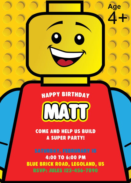 picture regarding Lego Birthday Invitations Printable identified as Lego Birthday Get together Invitation