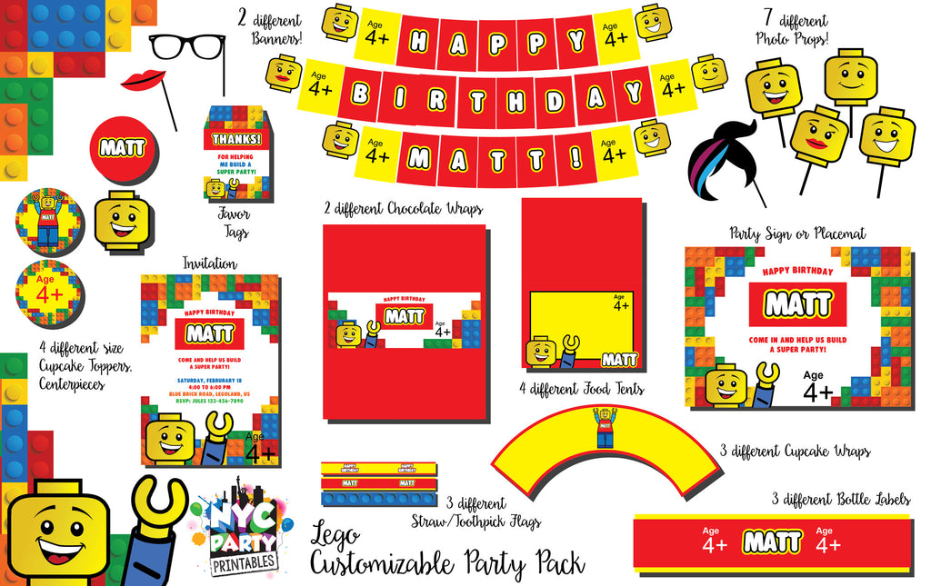 12 piece Lego Birthday Party Pack with Photo Booth Props Bonus Printable Invitation - NYC PARTY PRINTABLES