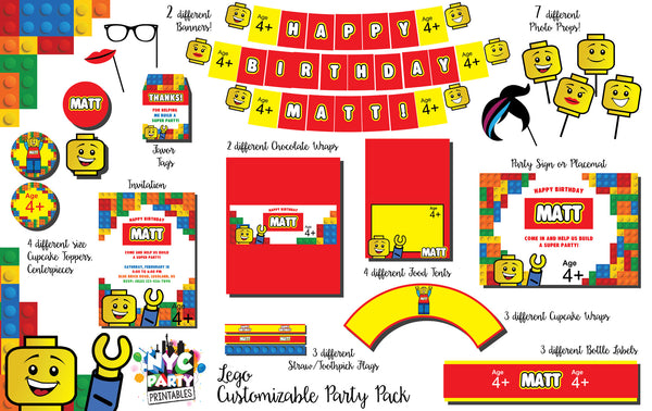 image relating to Lego Party Printable referred to as 12 piece Lego Birthday Get together Pack with Photograph Booth Props Reward Printable Invitation
