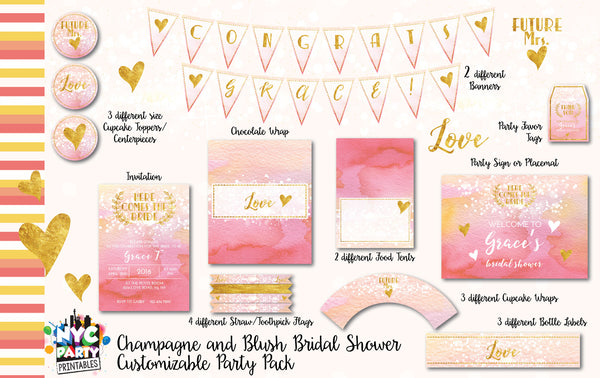 Bridal Shower 12 piece Collection Pink Blush and Champagne - NYC PARTY PRINTABLES