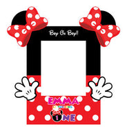Minnie Mouse Photo Booth Frame Printable with Mouse Ears and Hands - NYC PARTY PRINTABLES