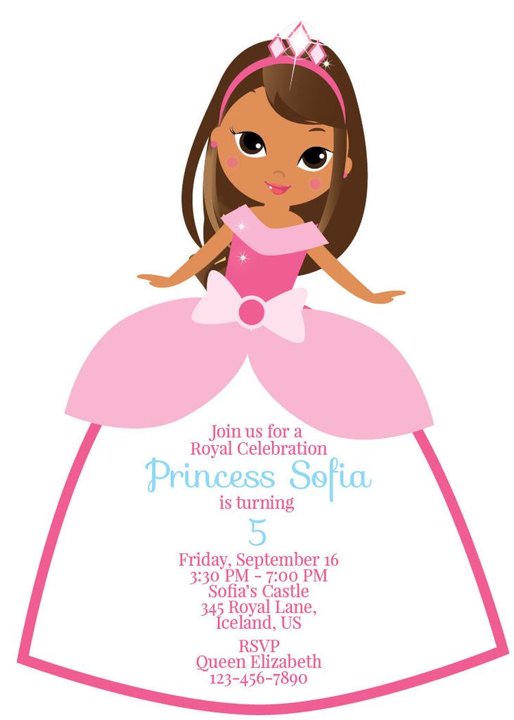 Tan Ethnic Princess Birthday Party Invitation - NYC PARTY PRINTABLES