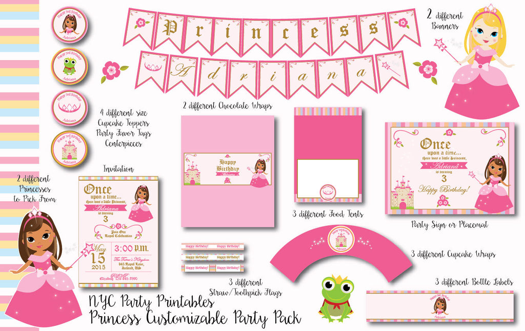 pretty pink princess birthday party complete 12 piece printable