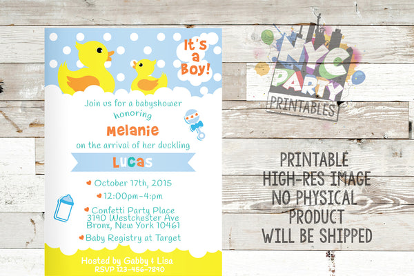 Darling Ducky Vertical Baby Shower Invite – Printable – JPG – 5x7 inch – Rubber Duck – Baby Sprinkle