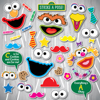Sesame Street Photo Booth Props, Sesame Street Party Photo Props Printable, Sesame Street Photo Booth, INSTANT DOWNLOAD, ELMO, Big Bird
