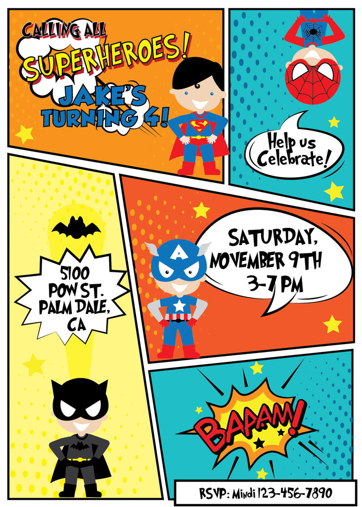 Superhero Birthday Party Invitation – NYC PARTY PRINTABLES