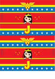 Wonder Woman Birthday Party Printable Decoration Pack with Photo Booth Props, Photo Booth Frame and Photo Booth Backdrop - NYC PARTY PRINTABLES