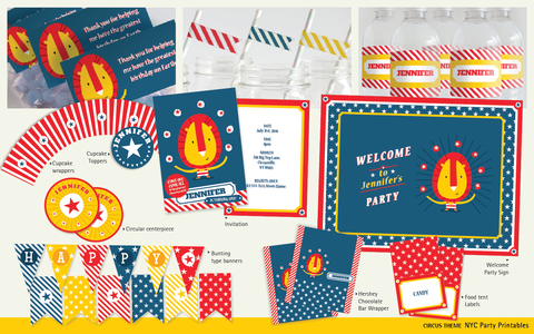 Circus Themed Birthday Party Customizable Pack - NYC PARTY PRINTABLES