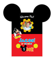 Mickey Mouse Birthday, Party Pack with Invitation,  Photo Booth Props, Backdrop and Photo Booth Photo Frame SUPERSIZED