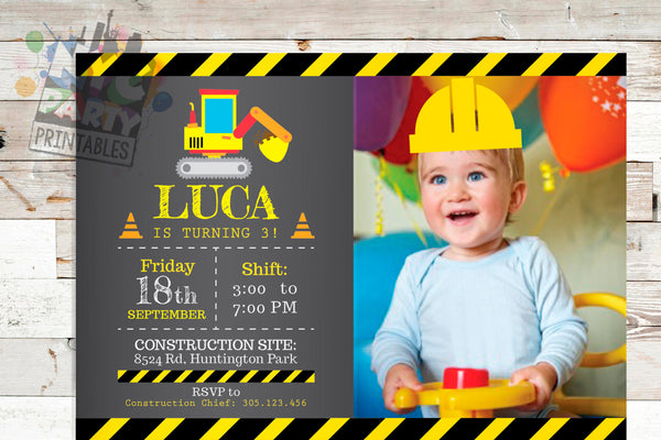 Construction Birthday Invitation, Digger Birthday, Forklift Birthday, Bulldozer Birthday, Construction Invite, Printable Invite - NYC PARTY PRINTABLES