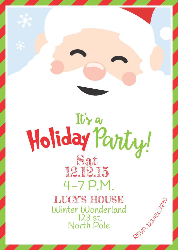 Christmas Party, Christmas Invitation, PRINTABLE invitation, Holiday Party Invitation, Santa Invite