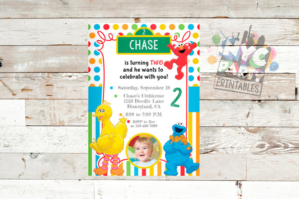 Sesame Street Invitation, Sesame Street Photo Invitation, Sesame Street Invite, Sesame Street Birthday Party Invitation, Photo Invitation